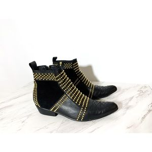 Anine Bing • Charlie Leather Gold Studded Boots 38